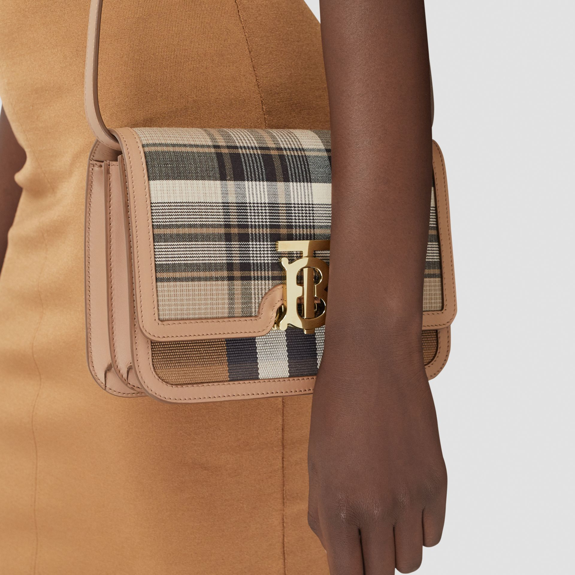 Small Tartan Wool and Leather TB Bag in Light Fawn - Women | Burberry Australia - gallery image 8