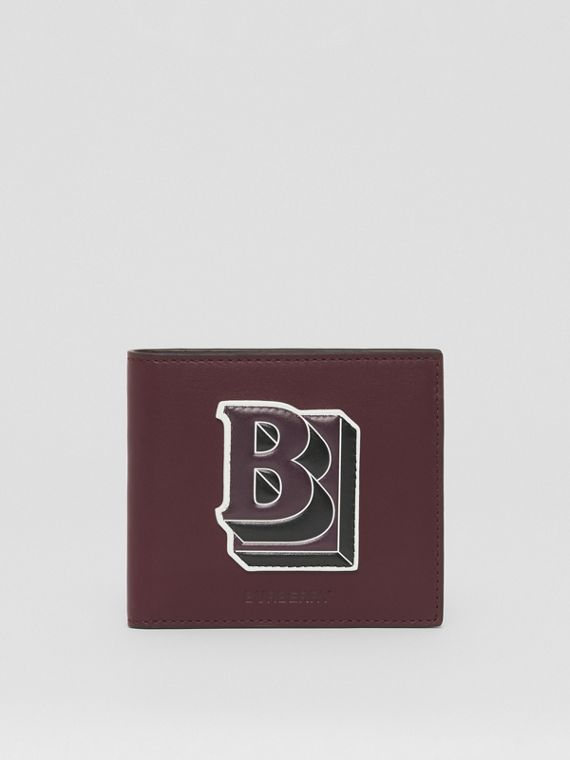 Letter Graphic Leather International Bifold Wallet in Deep Maroon