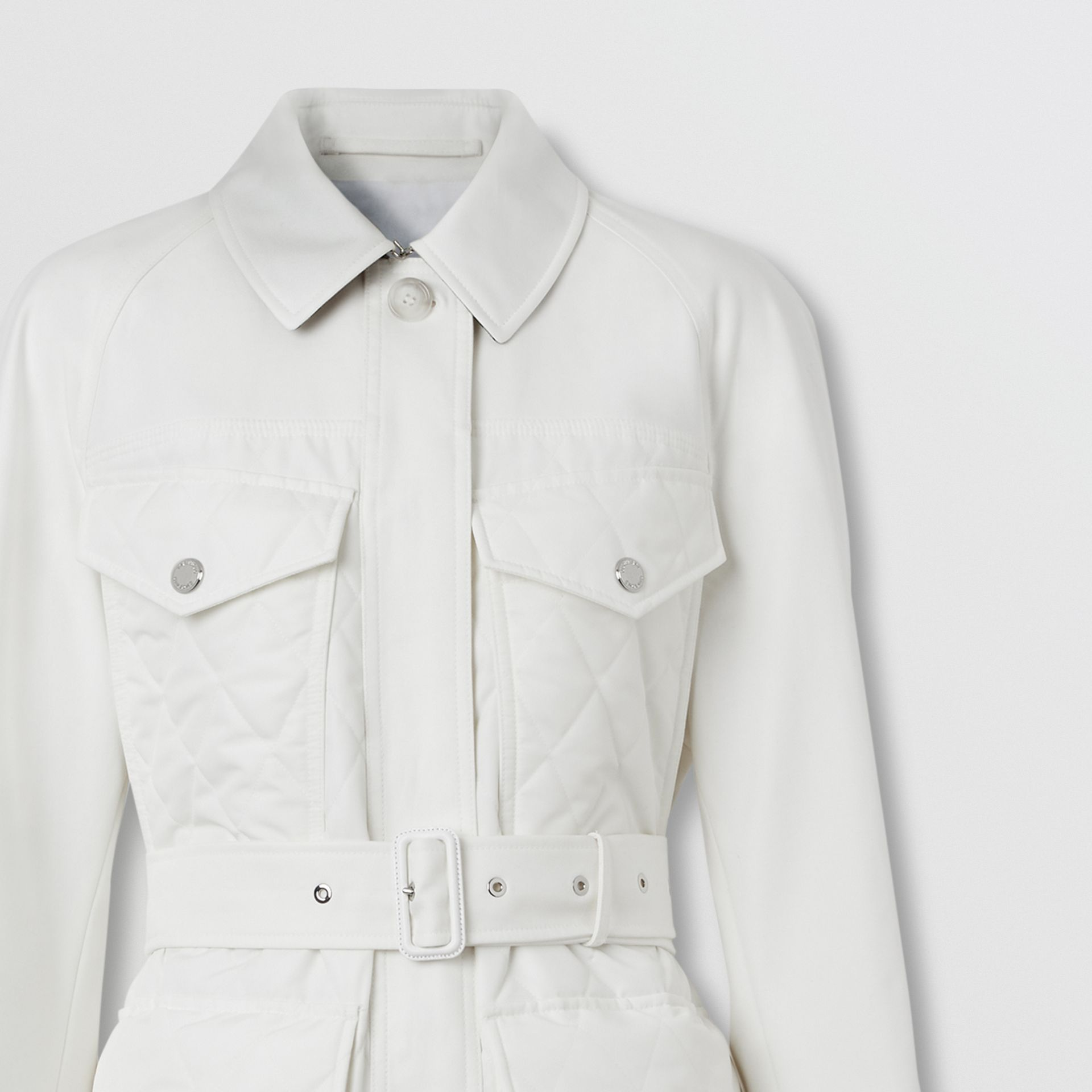 Diamond Quilted Panel Cotton Gabardine Car Coat in Natural White - Women | Burberry - gallery image 7