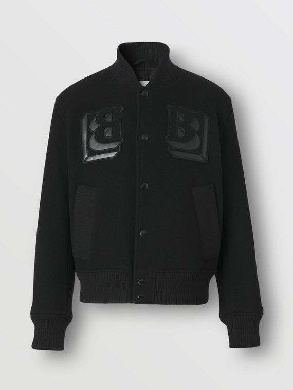 Letter Graphic Technical Wool Varsity Jacket in Black