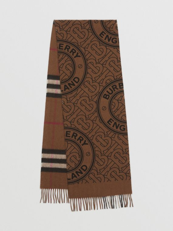 Reversible Check and Monogram Cashmere Scarf in Birch Brown