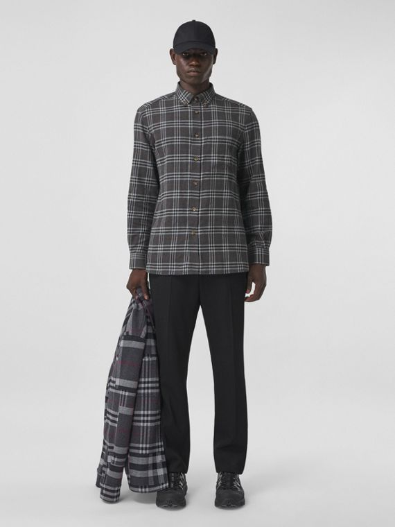 Button-down Collar Check Cotton Flannel Shirt in Charcoal