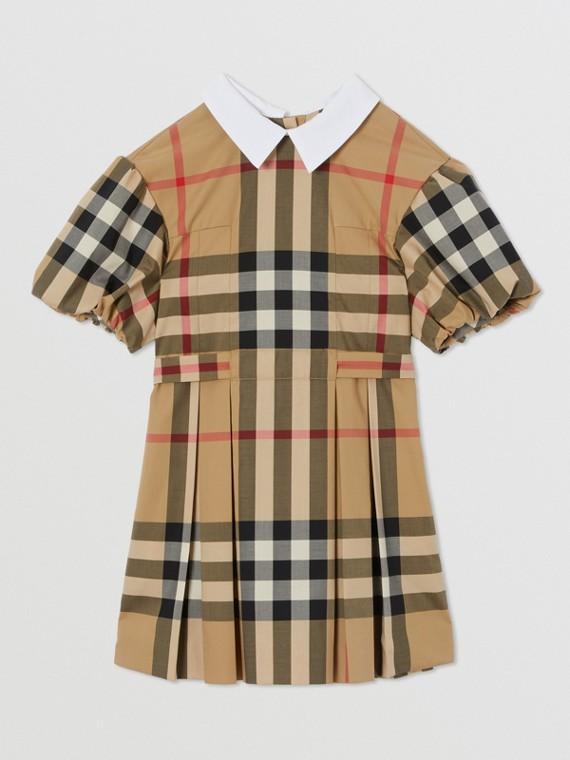 Vestido de algodão stretch xadrez com mangas bufantes (Bege Clássico)