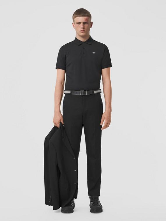 Letter Motif Silk Cotton Piqué Polo Shirt in Black
