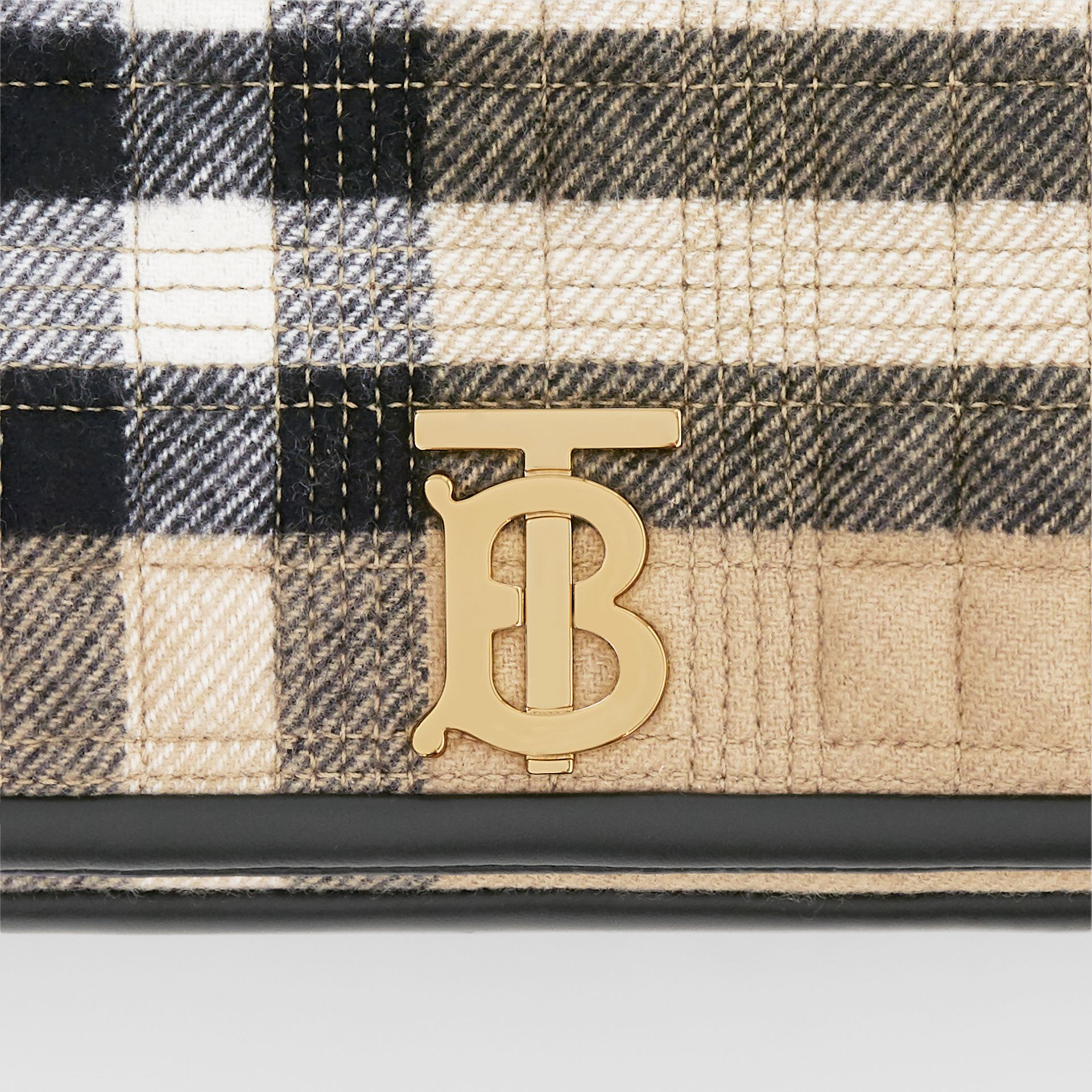Small Check Cashmere Lola Bag in Archive Beige - Women | Burberry United States - gallery image 1