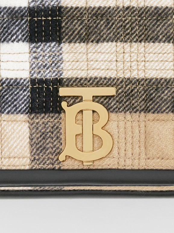 Small Check Cashmere Lola Bag in Archive Beige - Women | Burberry United States - cell image 1