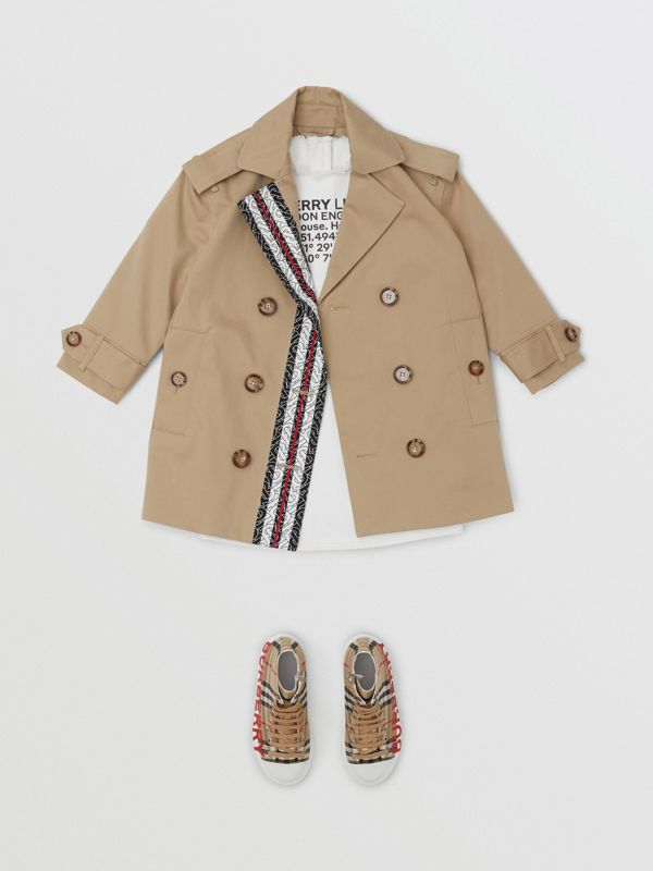 Monogram Stripe Print Cotton Trench Coat in Honey | Burberry Canada - cell image 3