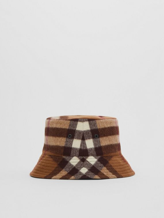 Check Wool Bucket Hat in Birch Brown