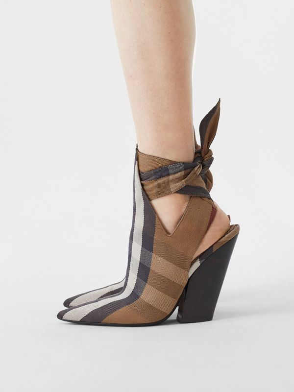 Tie Detail Check Technical Cotton Point-toe Mules in Birch Brown - Women | Burberry - cell image 2