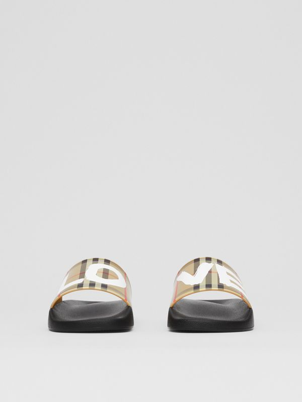 Love Print Vintage Check Slides in Archive Beige - Women | Burberry - cell image 3