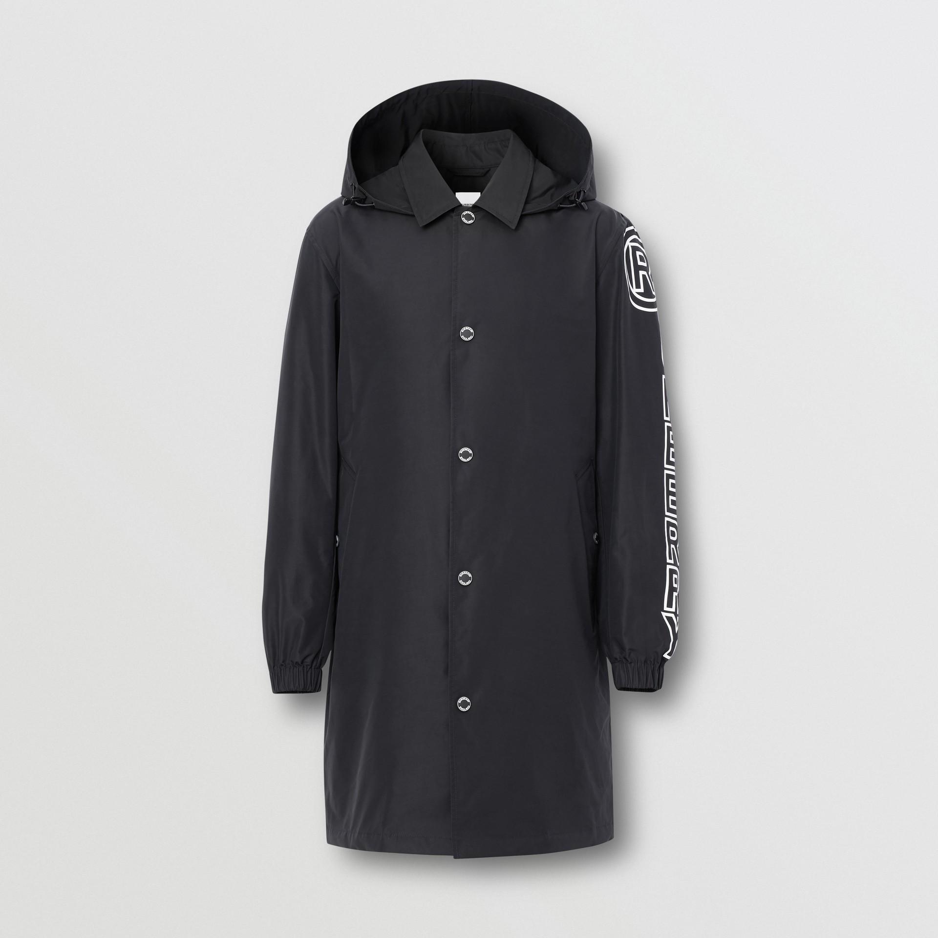 Detachable Hood Logo Print Technical Cotton Car Coat in Black - Men | Burberry United States - gallery image 0