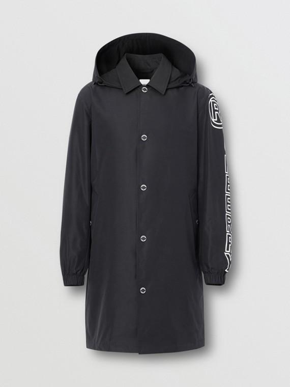Detachable Hood Logo Print Technical Cotton Car Coat in Black