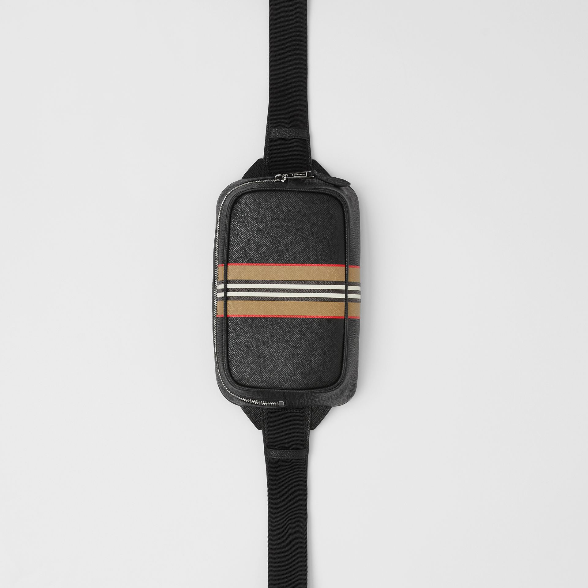 Icon Stripe Print Grainy Leather Bum Bag in Black - Men | Burberry - gallery image 4