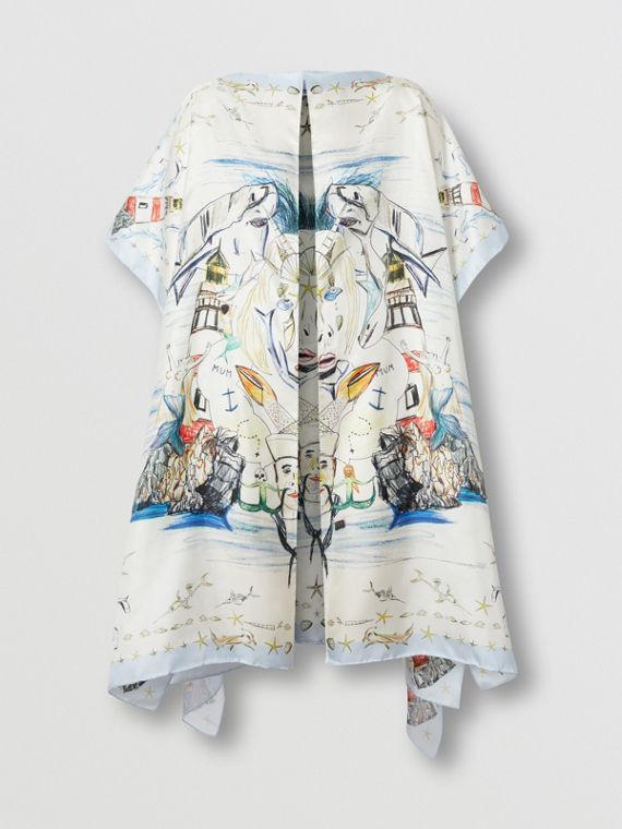 Marine Sketch Print Silk Twill Cape in White