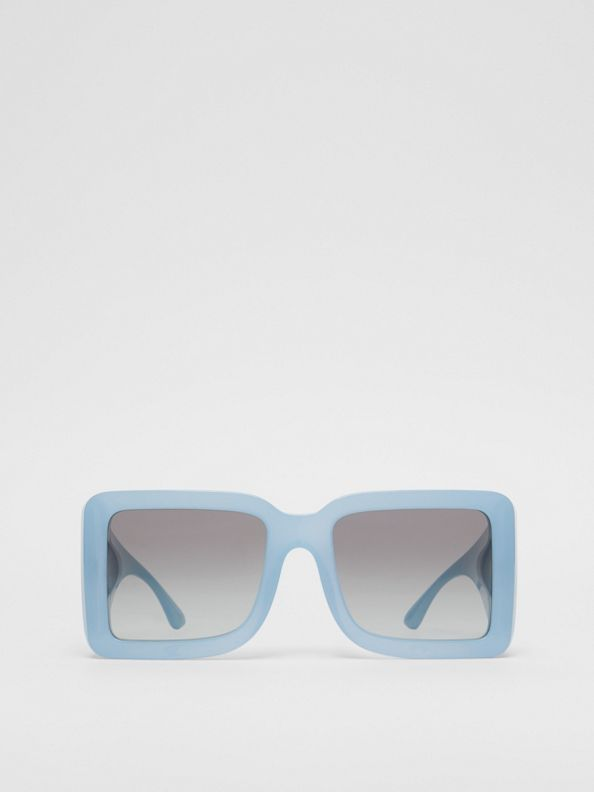 B Motif Square Frame Sunglasses in Baby Blue