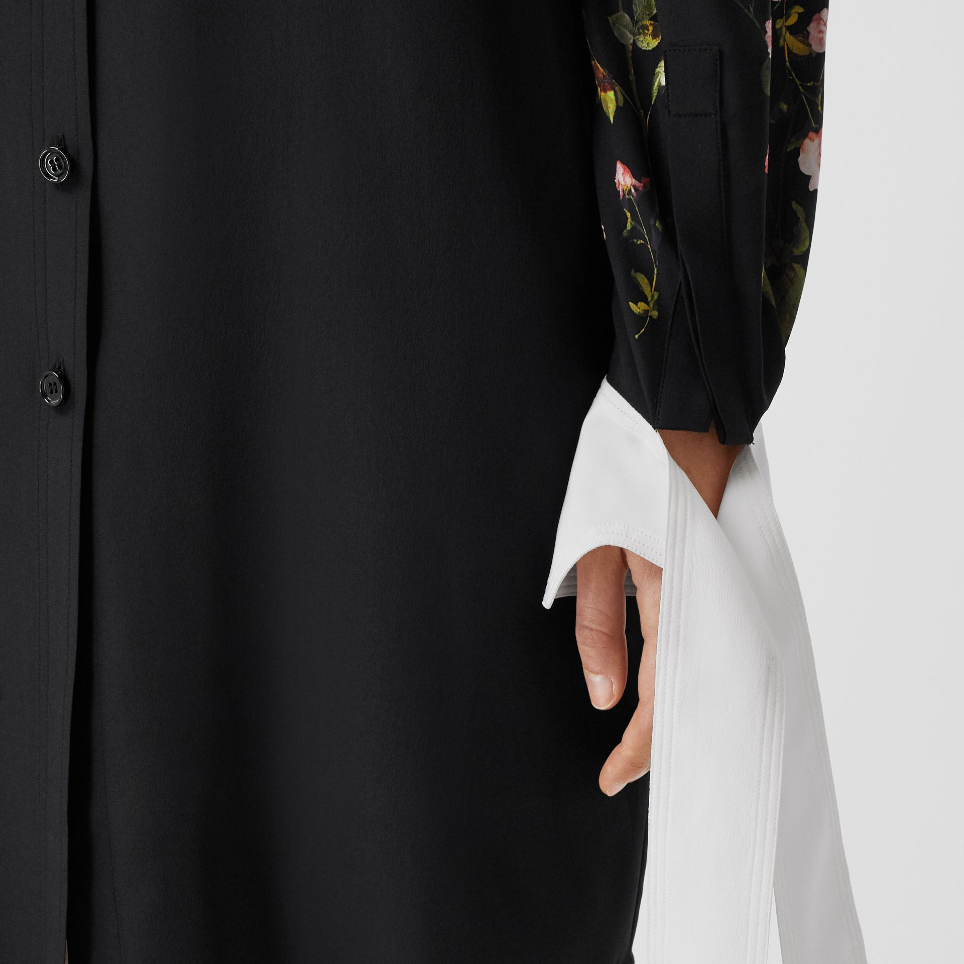 Rose Print Silk Crepe De Chine Shirt Dress in Black - Women | Burberry - gallery image 4