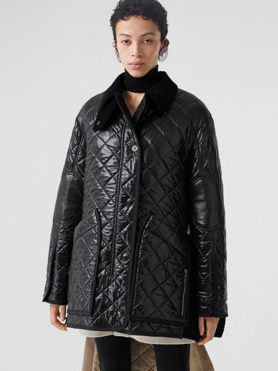 Rib Knit Panel Diamond Quilted Barn Jacket in Black