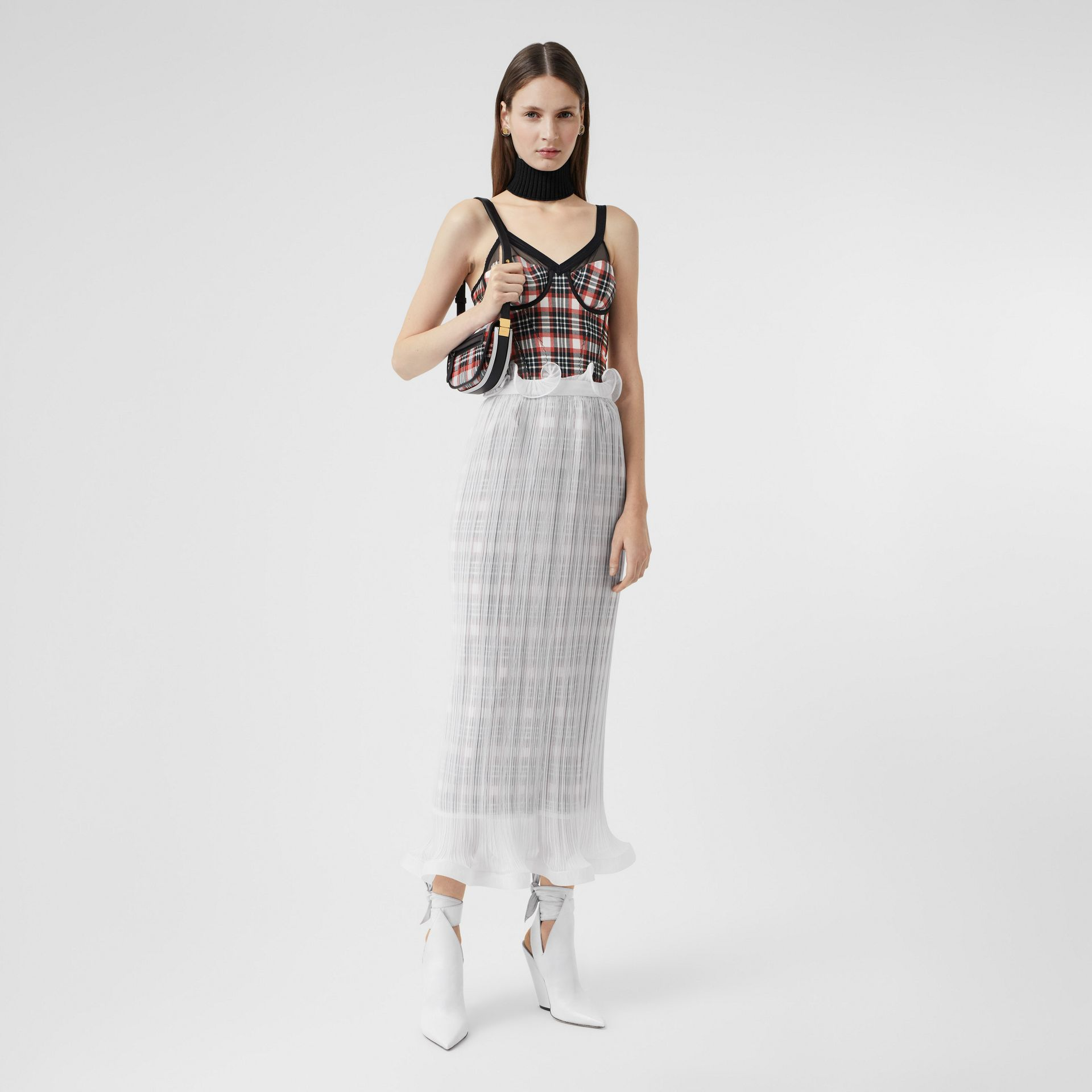 Custom Fit Ruffle Detail Chiffon Plissé Skirt in Optic White - Women | Burberry - gallery image 0