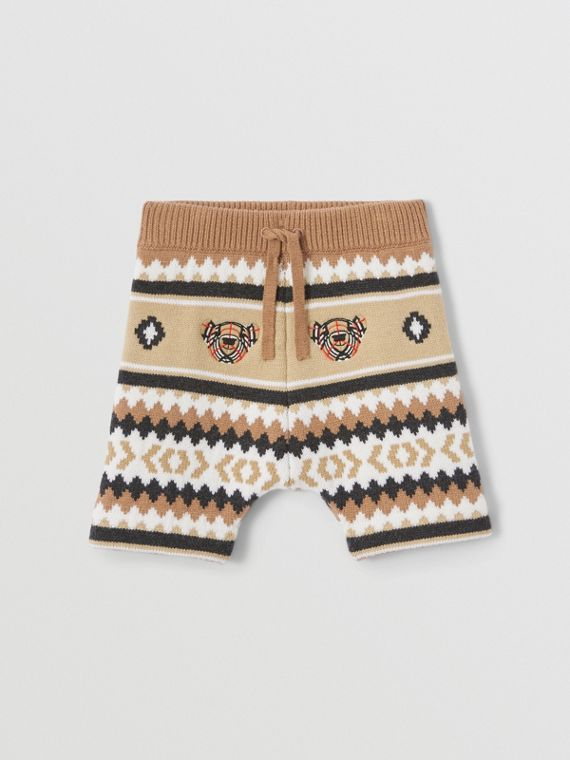 Fair Isle Wool Cashmere Shorts in Camel