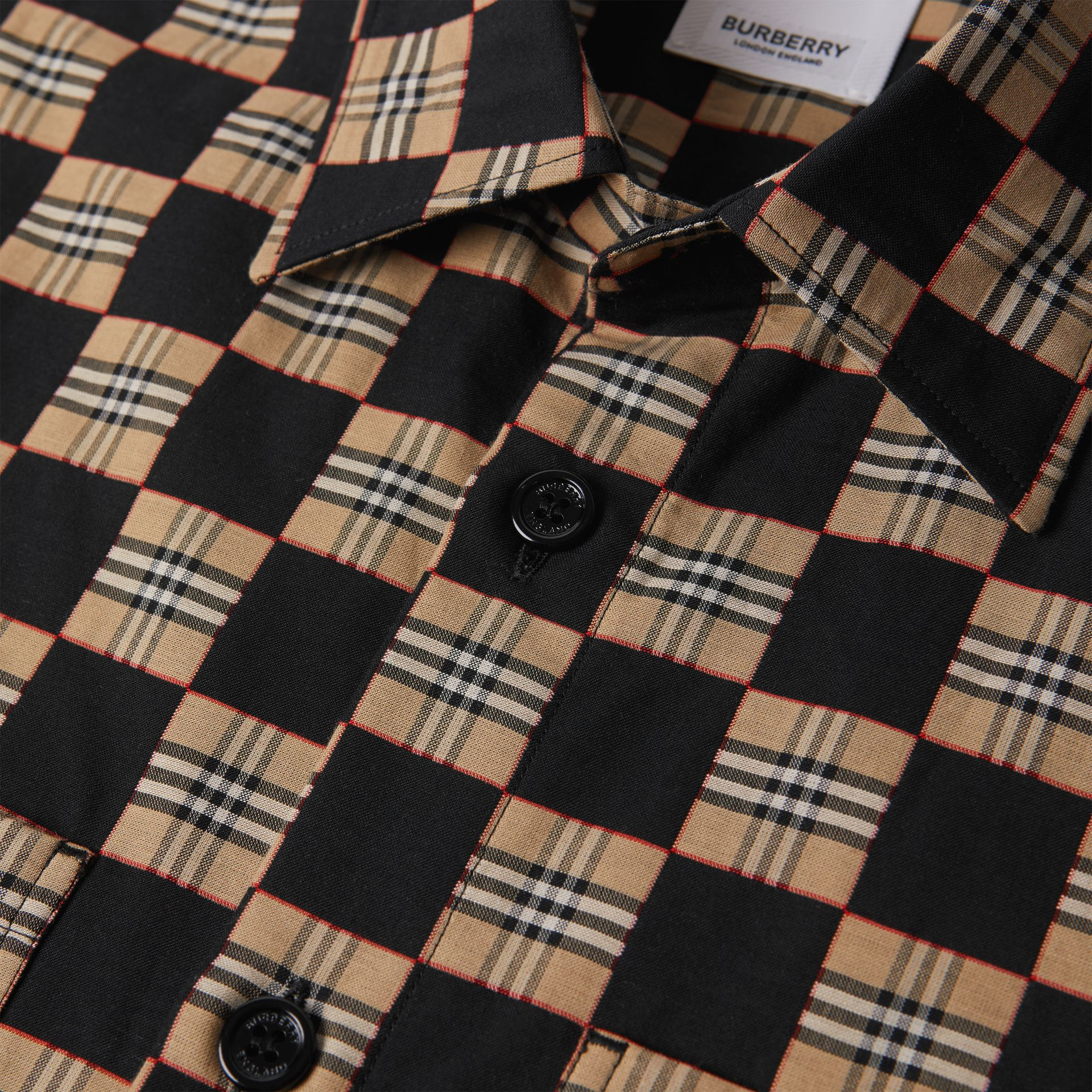 Short-sleeve Chequer Print Cotton Shirt | Burberry United Kingdom - gallery image 3