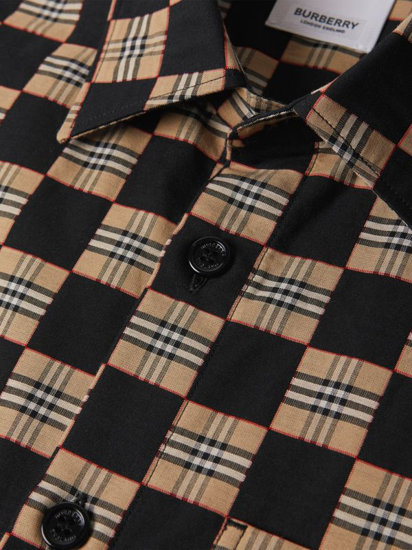 Short-sleeve Chequer Print Cotton Shirt | Burberry United Kingdom - cell image 3