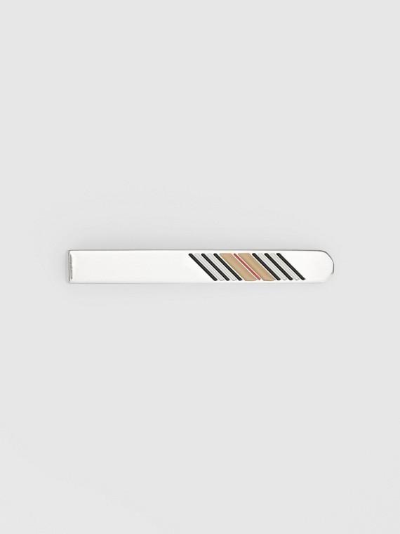 Pince à cravate plaquée palladium à rayures iconiques