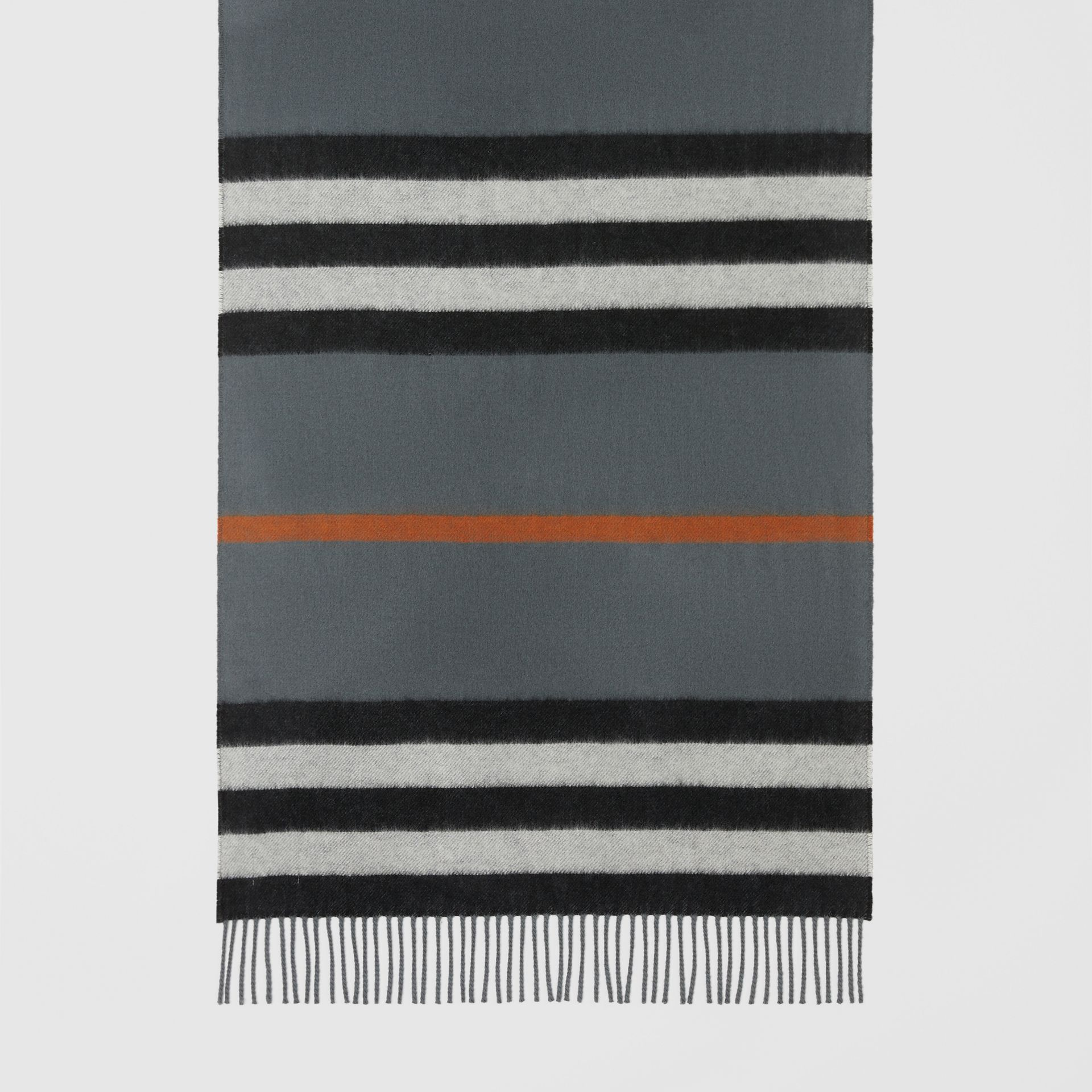 Icon Stripe Cashmere Jacquard Scarf in Mid Grey | Burberry - gallery image 4