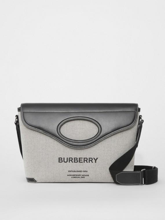 Horseferry Print Canvas Pocket Messenger Bag in Black