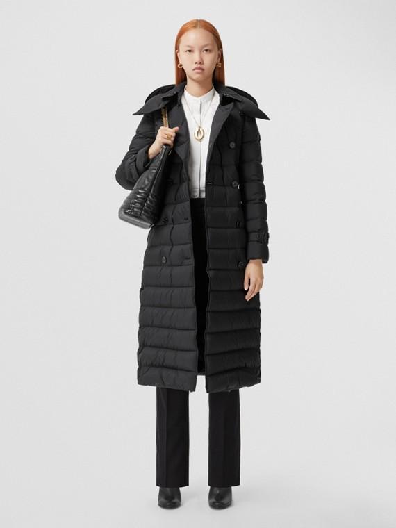 可拆式連帽鋪棉大衣 (黑色)