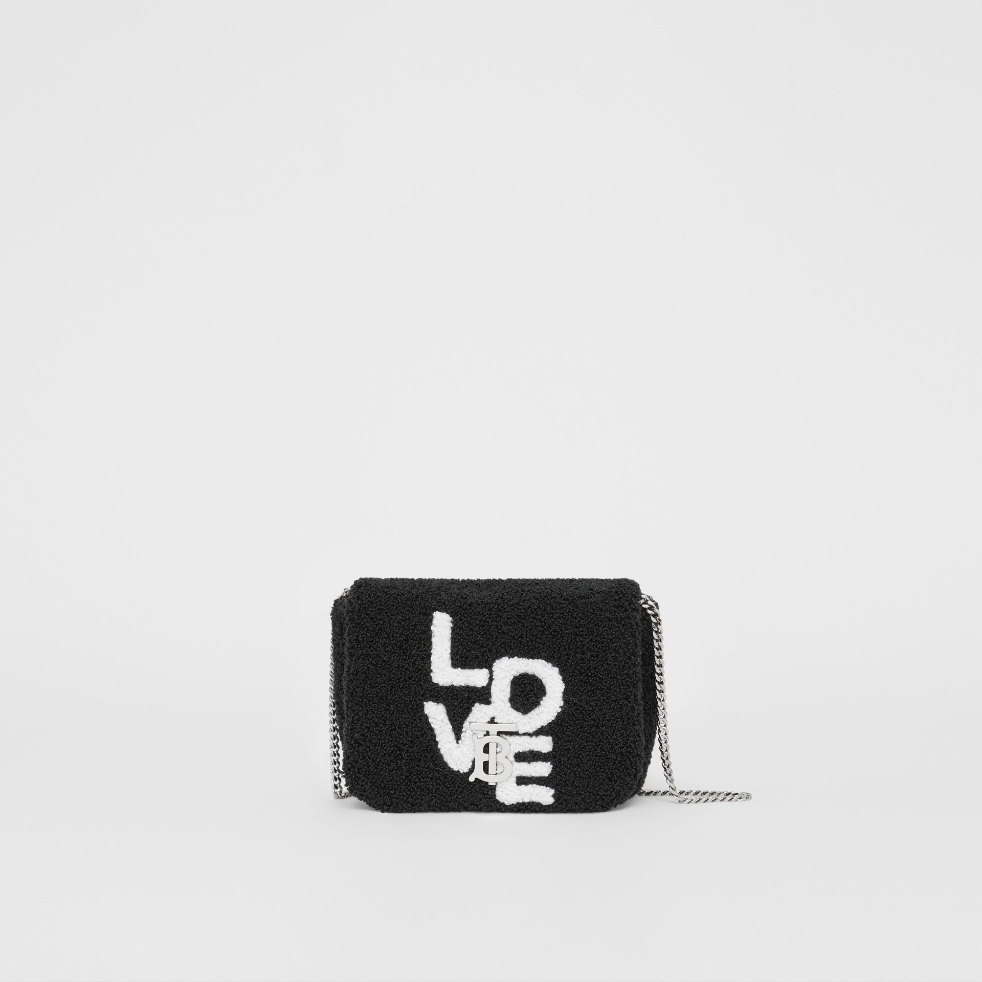 Micro Love Motif Towelling Lola Bag in Black - Women | Burberry - gallery image 0