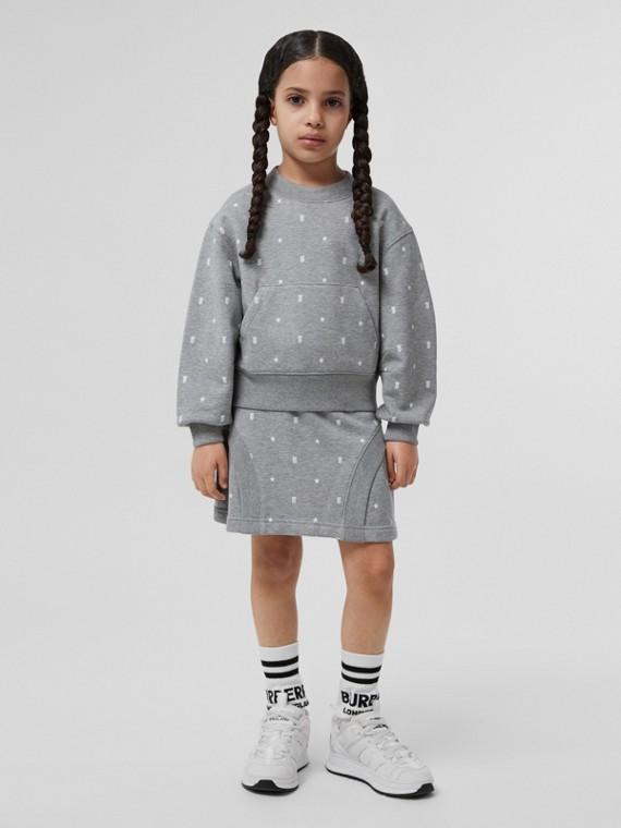 星星和花押字圖案棉質運動衫 (灰色)