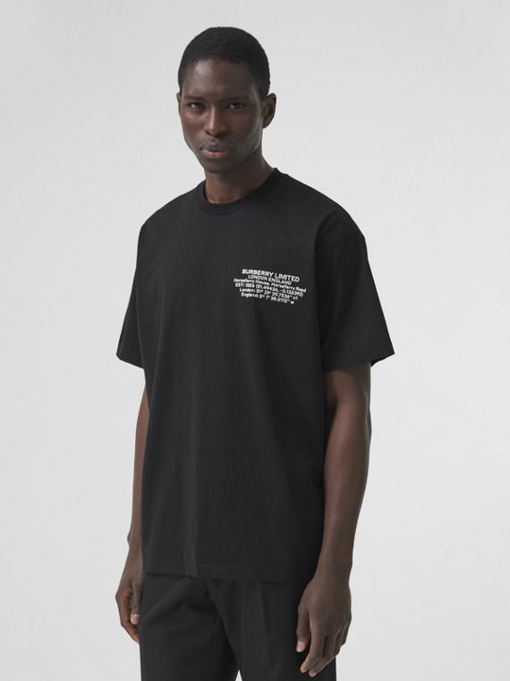 Camiseta oversize de algodão com estampa geográfica (Preto)