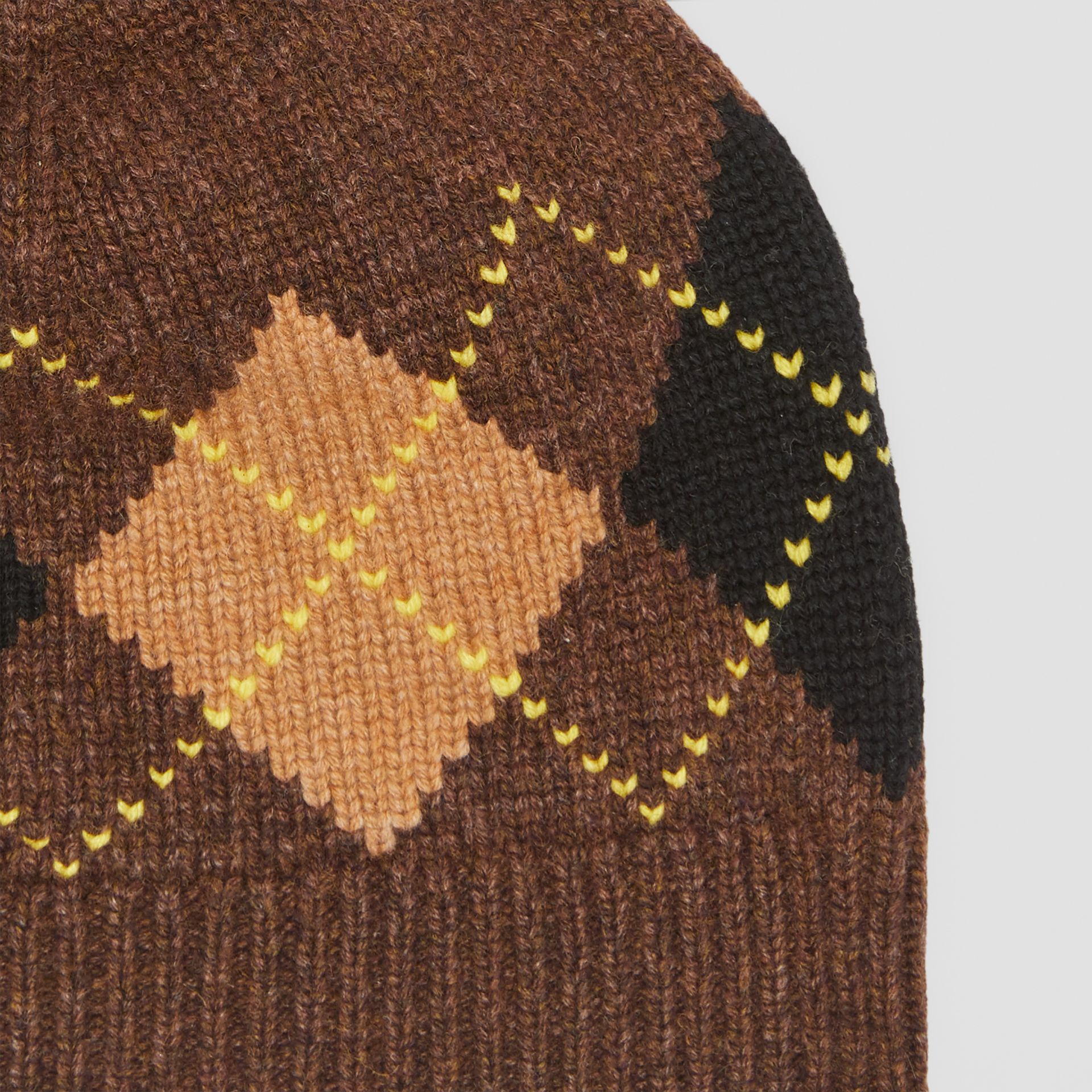 Argyle Intarsia Wool Cashmere Beanie in Brown | Burberry - gallery image 1