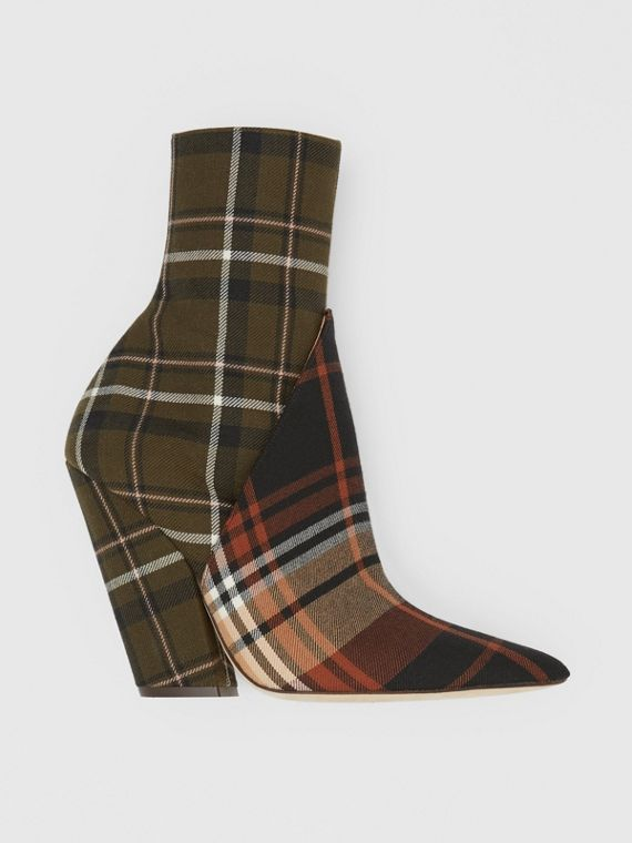 Panelled Contrast Check Wool Ankle Boots in Dark Khaki Green