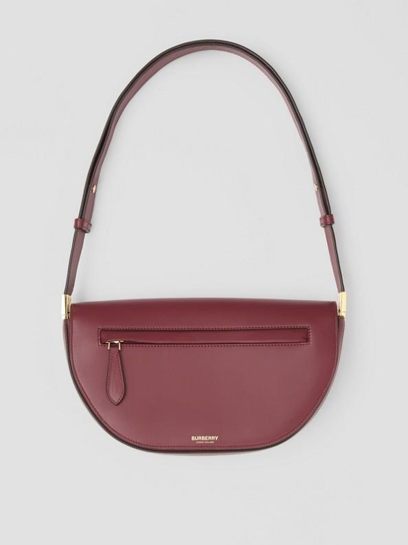 Bolsa Olympia de couro - Pequena (Vermelho Borgonha)