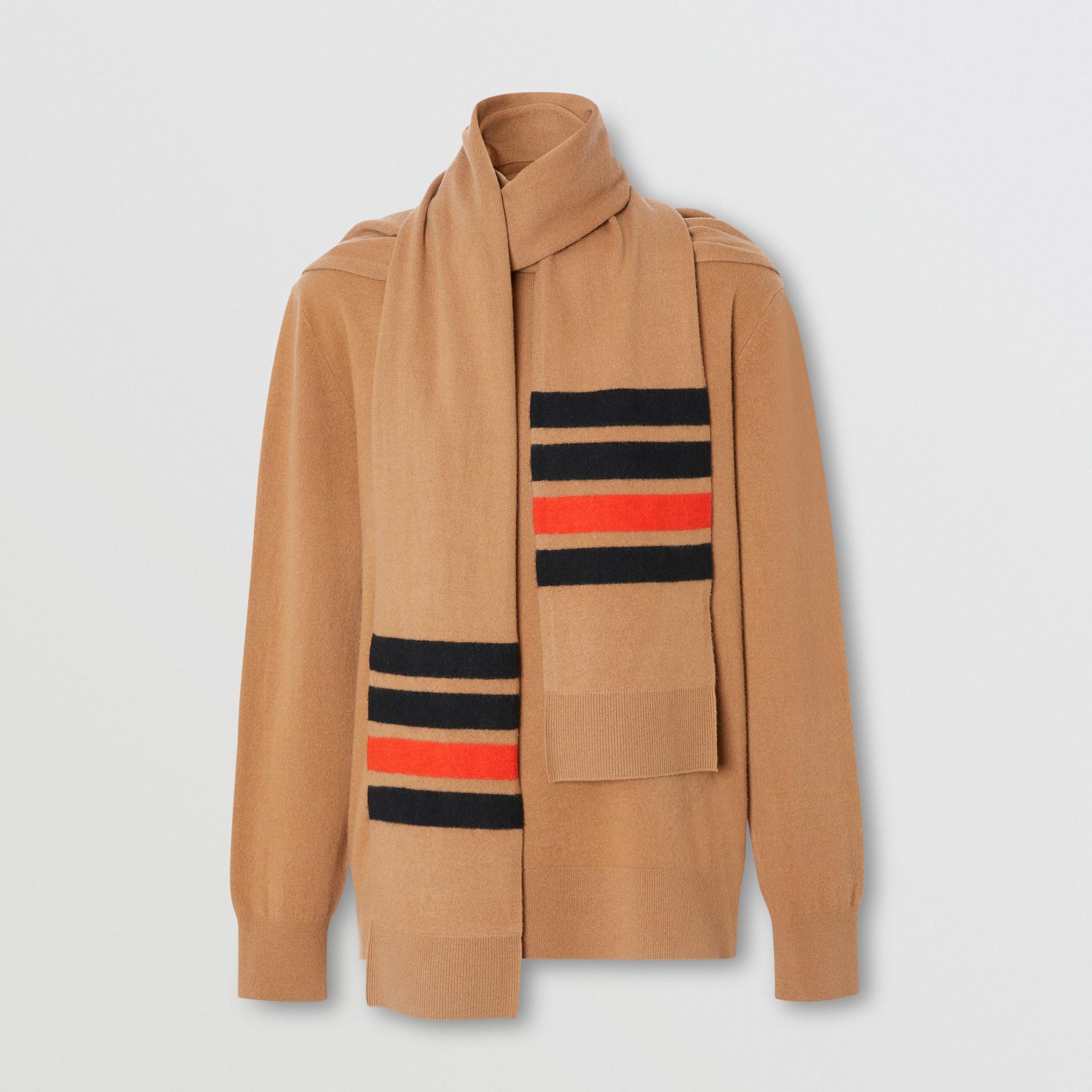 Striped Scarf Detail Merino Wool Cashmere Sweater in Beige - Women | Burberry - gallery image 3