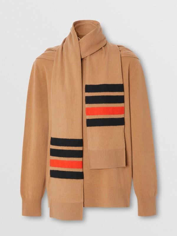 Pullover aus Merinowolle und Kaschmir mit Schal- und Streifendetail (Beige) - Damen | Burberry - cell image 3