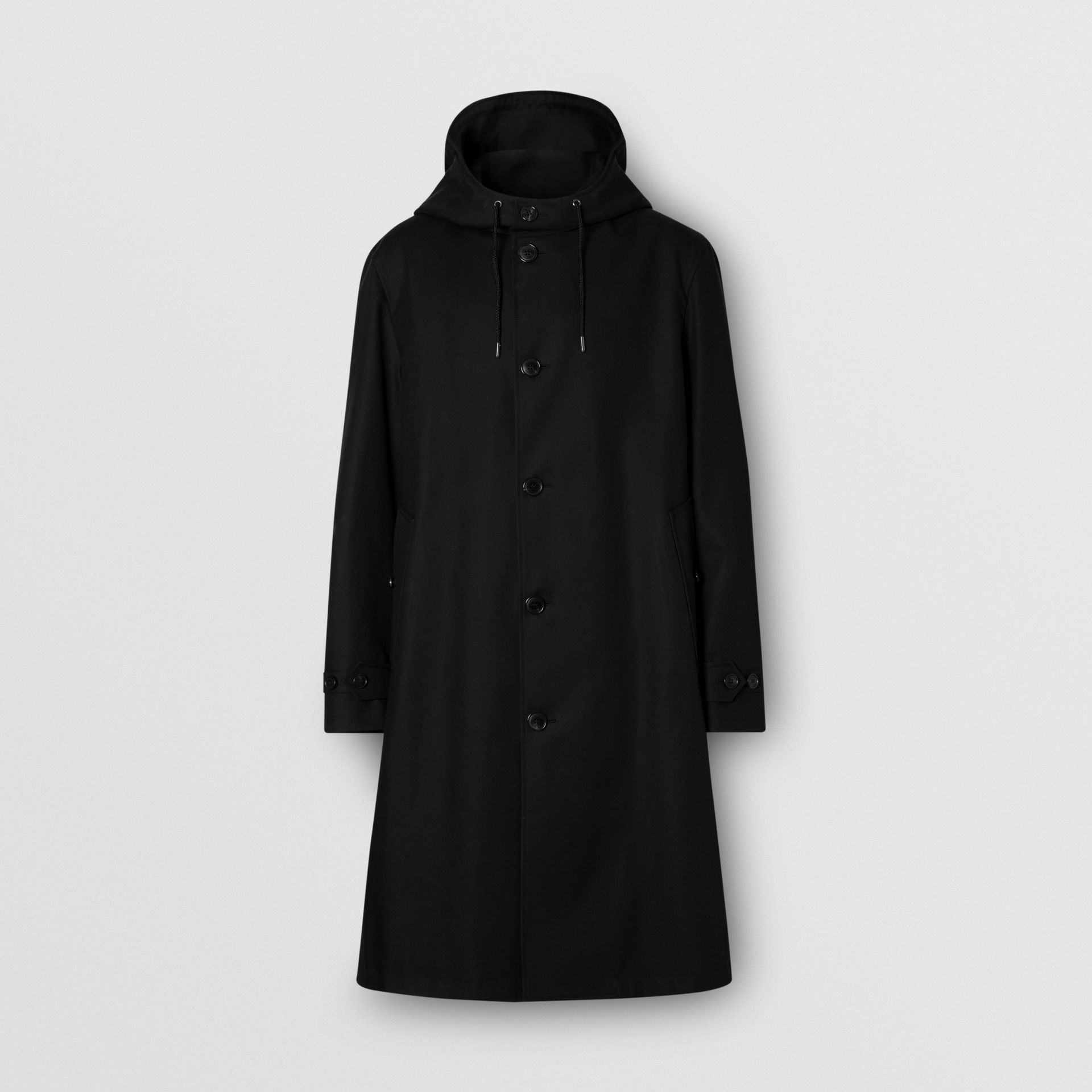 Cotton Gabardine Hooded Coat in Black - Men | Burberry United Kingdom - gallery image 0