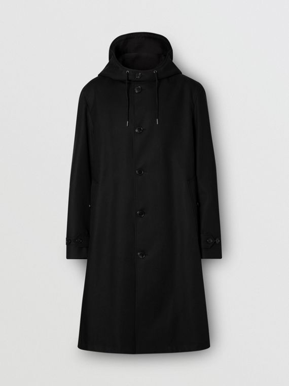 Cotton Gabardine Hooded Coat in Black