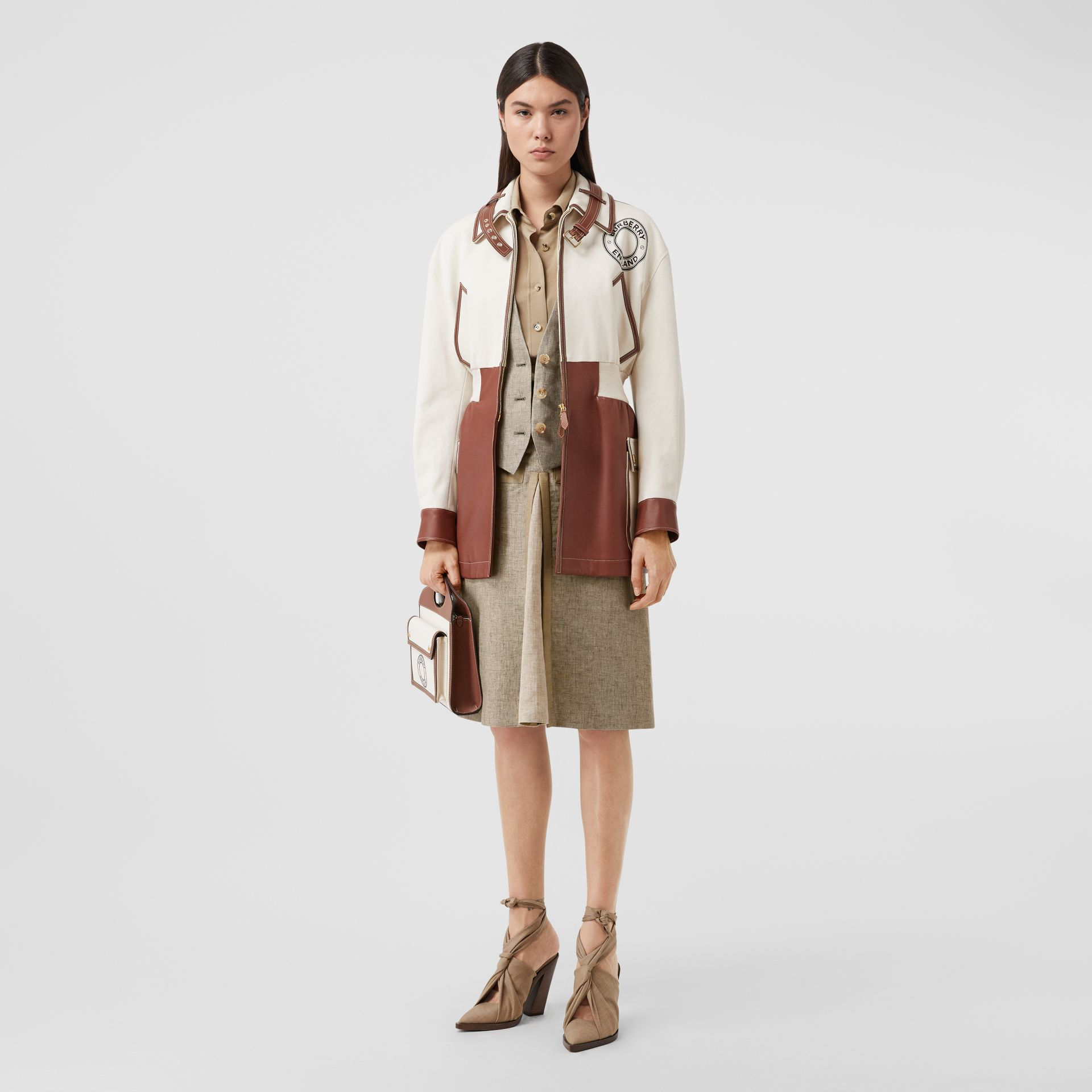 Contrast Seam and Box-pleat Detail Linen A-line Skirt in Cedar Brown Melange - Women | Burberry - gallery image 5
