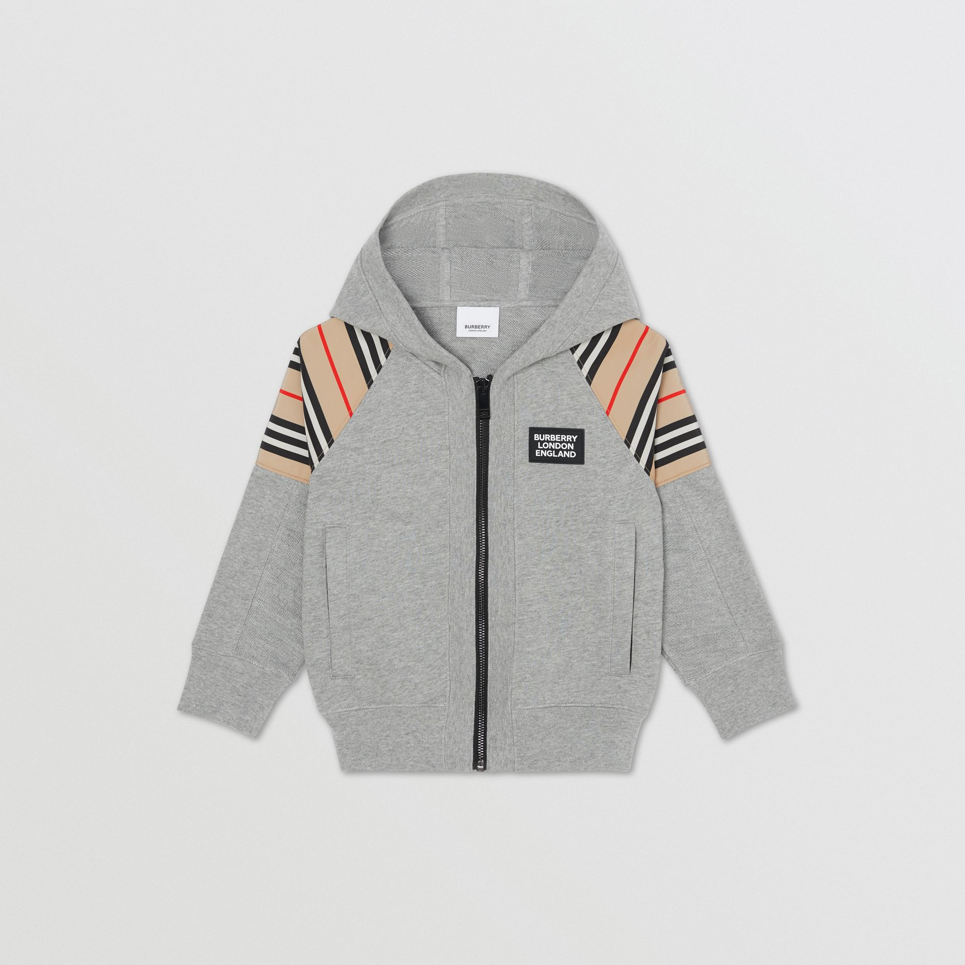 Icon Stripe Panel Cotton Hooded Top in Grey Melange | Burberry United Kingdom - gallery image 0