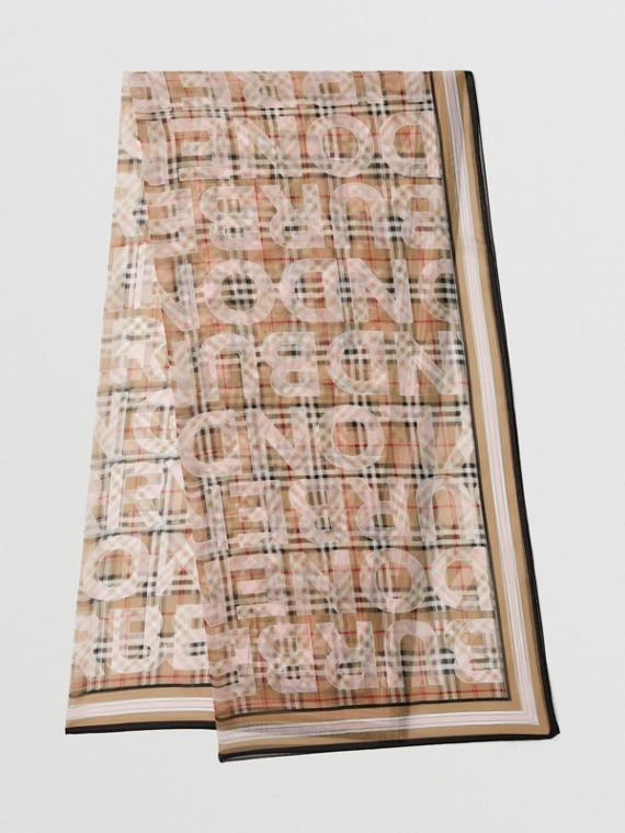 Vintage Check Logo Print Silk Chiffon Scarf in Alabaster Pink