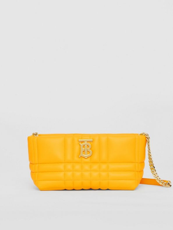 Small Quilted Lambskin Soft Lola Bag in Deep Saffron