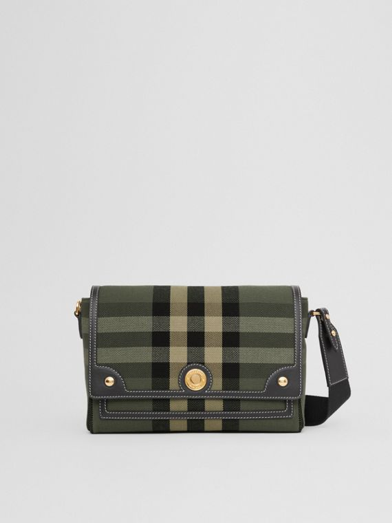 Check Canvas and Leather Note Crossbody Bag in Military Green