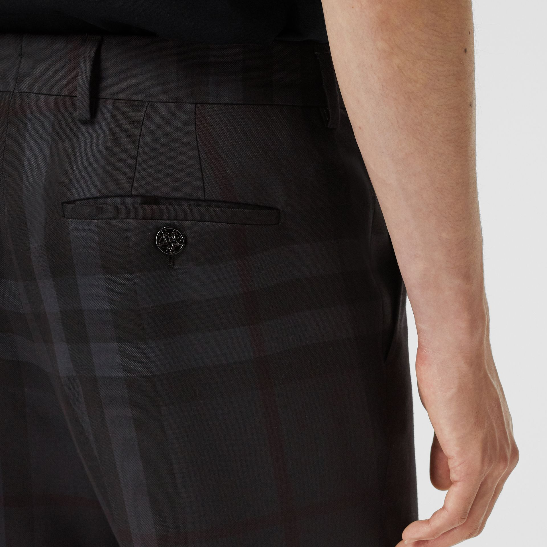 Classic Fit Check Wool Tailored Trousers in Charcoal - Men | Burberry - gallery image 1