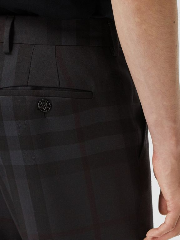 Classic Fit Check Wool Tailored Trousers in Charcoal - Men | Burberry - cell image 1