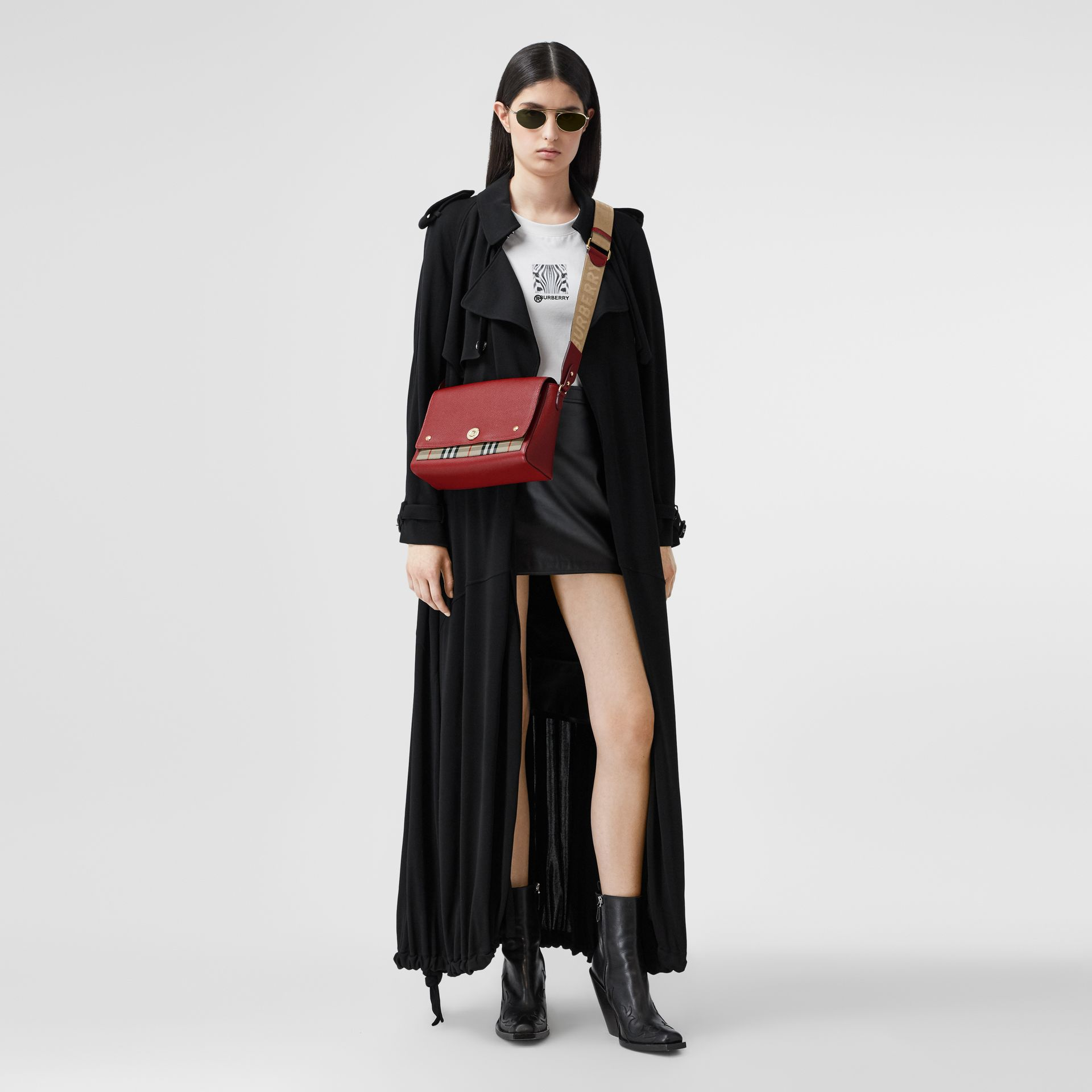 Leather and Vintage Check Note Crossbody Bag in Dark Carmine - Women | Burberry United States - gallery image 5