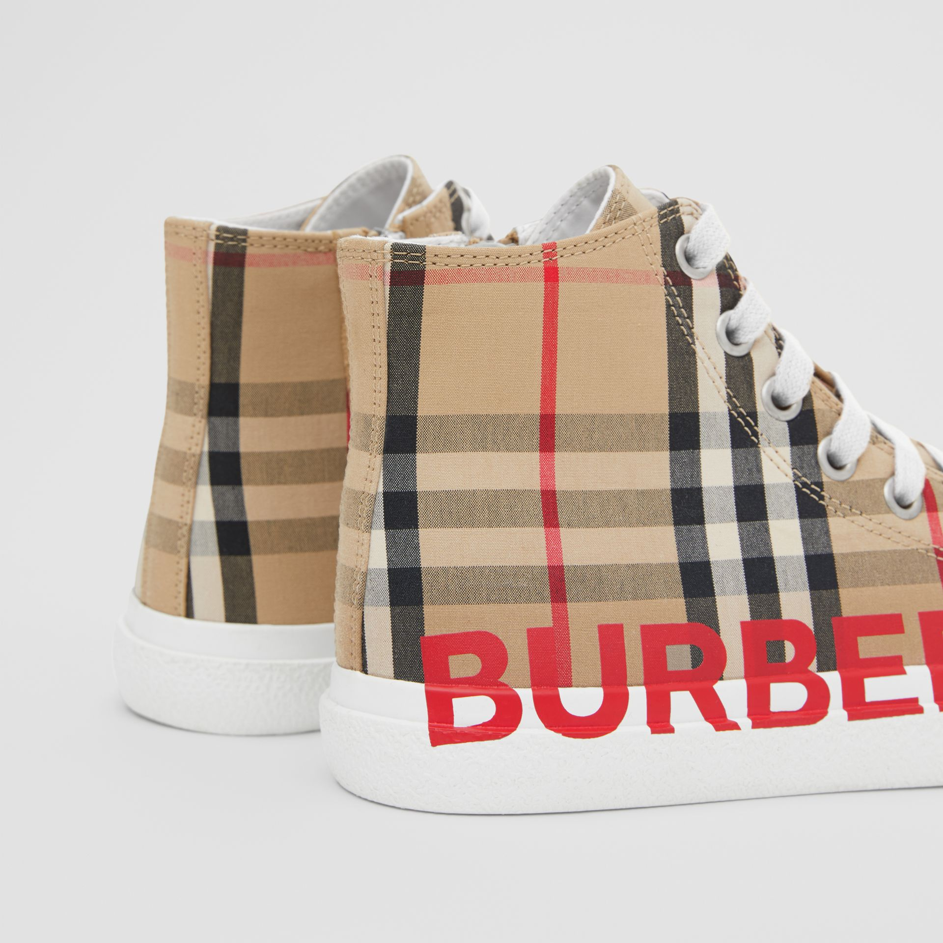 Logo Print Vintage Check High-top Sneakers in Archive Beige - Children | Burberry - gallery image 1