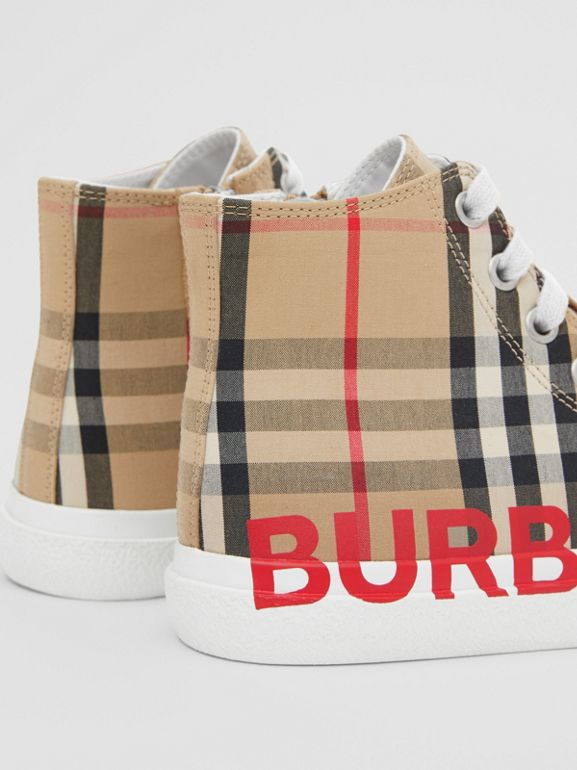 Logo Print Vintage Check High-top Sneakers in Archive Beige - Children | Burberry - cell image 1