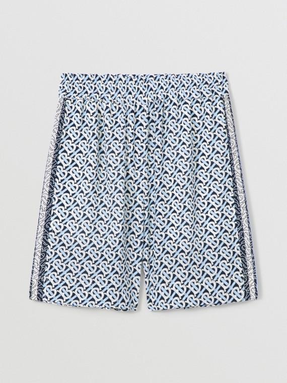 Pantaloncini in seta con stampa monogramma a righe (Blu Cobalto)